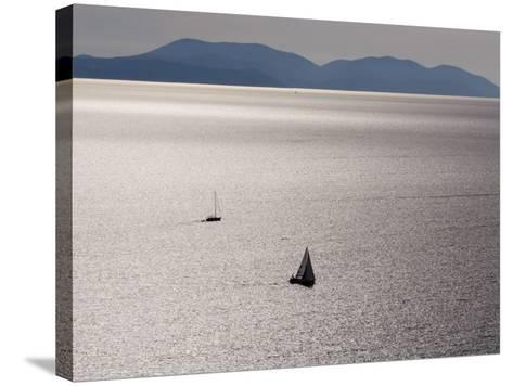 Yachts in Gleaming Sea from Hill Above Zavala-Will Salter-Stretched Canvas Print