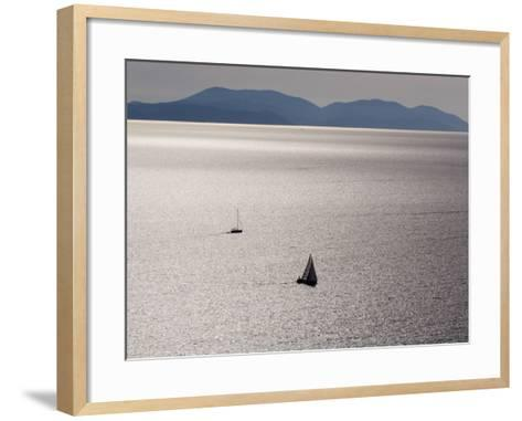 Yachts in Gleaming Sea from Hill Above Zavala-Will Salter-Framed Art Print