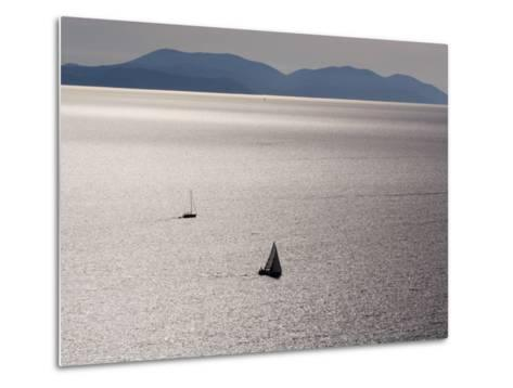 Yachts in Gleaming Sea from Hill Above Zavala-Will Salter-Metal Print