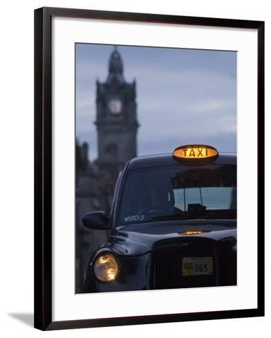 Taxi with Balmoral Hotel in Background-Will Salter-Framed Art Print