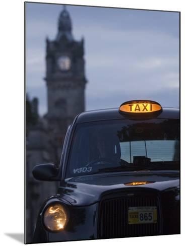 Taxi with Balmoral Hotel in Background-Will Salter-Mounted Photographic Print
