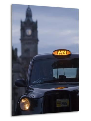 Taxi with Balmoral Hotel in Background-Will Salter-Metal Print