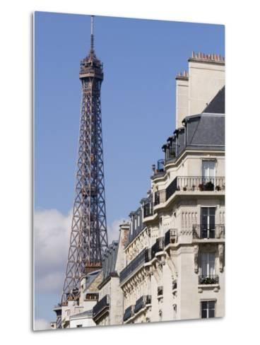 Eiffel Tower and Apartment Building-Will Salter-Metal Print