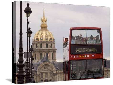 Open Top Tour Bus on Pont Alexandre-Will Salter-Stretched Canvas Print