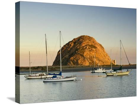 Boats Anchored Near Morro Rock at Sunrise, Seen from Embarcadero Waterfront Boulevard-Witold Skrypczak-Stretched Canvas Print