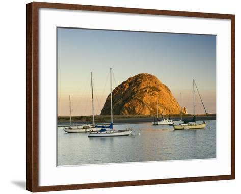 Boats Anchored Near Morro Rock at Sunrise, Seen from Embarcadero Waterfront Boulevard-Witold Skrypczak-Framed Art Print