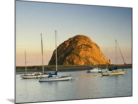Boats Anchored Near Morro Rock at Sunrise, Seen from Embarcadero Waterfront Boulevard-Witold Skrypczak-Mounted Photographic Print