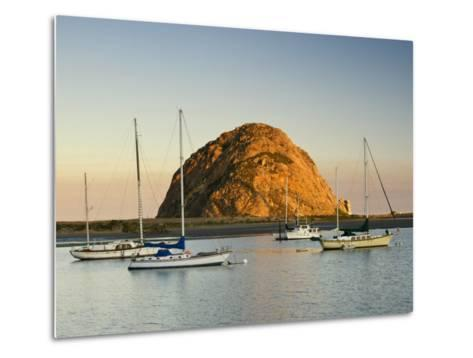 Boats Anchored Near Morro Rock at Sunrise, Seen from Embarcadero Waterfront Boulevard-Witold Skrypczak-Metal Print
