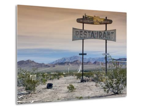 Old Restaurant Sign at Route 66 Near Chambless with Marble Mountains in Distance-Witold Skrypczak-Metal Print