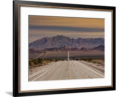Route 66 Near Chambless with Marble Mountains in Distance, Mojave Desert-Witold Skrypczak-Framed Art Print