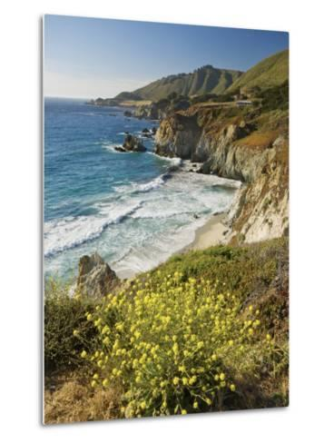 Cliffs Along Big Sur Coastline, Near Rocky Creek Bridge on Highway One-Witold Skrypczak-Metal Print