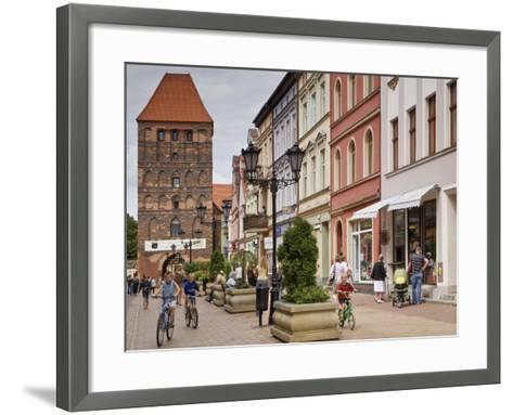 Medieval Czluchow Gate Seen from Pedestrianized 31 Stycznia Street-Witold Skrypczak-Framed Art Print