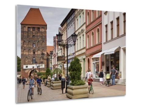 Medieval Czluchow Gate Seen from Pedestrianized 31 Stycznia Street-Witold Skrypczak-Metal Print