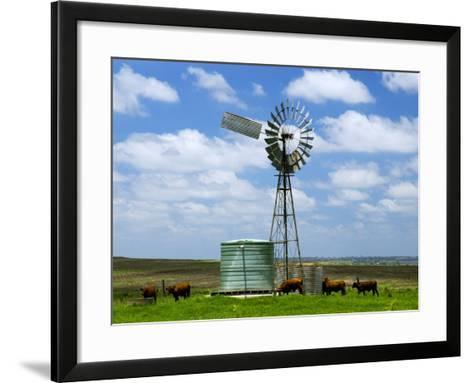 Watering Cattle Beneath Windmill on Darling Downs, Southern Queensland-Philip Game-Framed Art Print