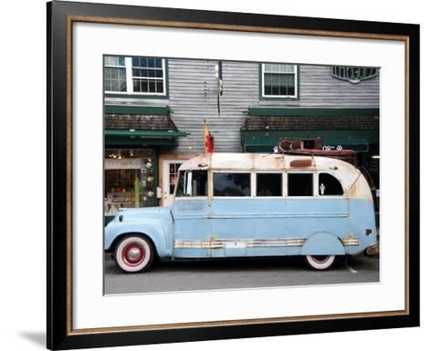 Old Bus Touring the Country Stops in Bar Harbour-Peter Ptschelinzew-Framed Art Print