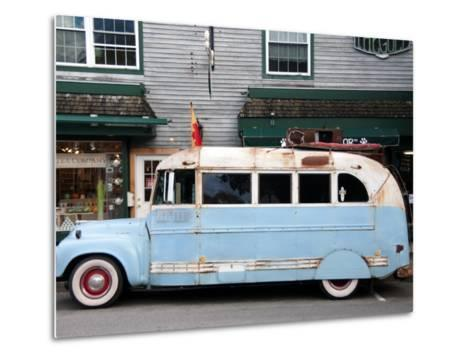 Old Bus Touring the Country Stops in Bar Harbour-Peter Ptschelinzew-Metal Print
