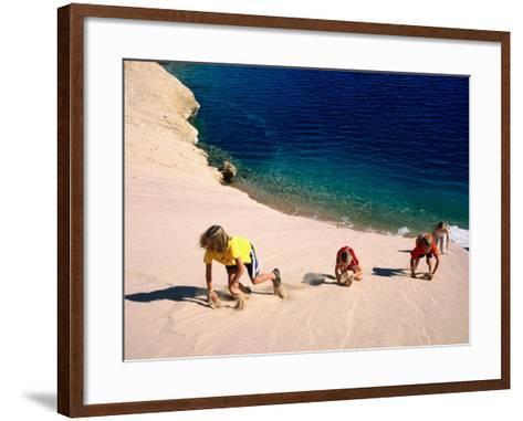 Overhead of Children Climbing Sand Dune-Philip & Karen Smith-Framed Art Print