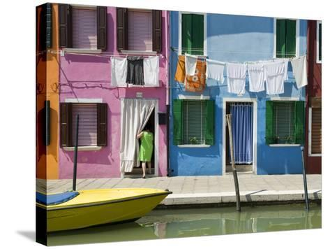 Boats and Colourful Houses Along Canal-Rachel Lewis-Stretched Canvas Print