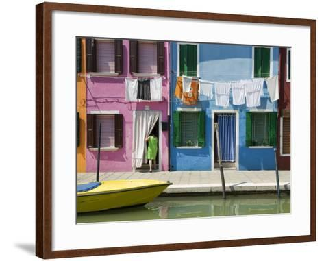 Boats and Colourful Houses Along Canal-Rachel Lewis-Framed Art Print