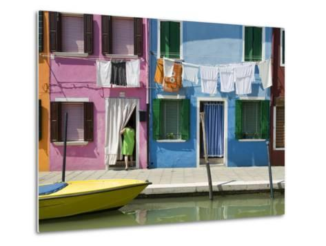 Boats and Colourful Houses Along Canal-Rachel Lewis-Metal Print