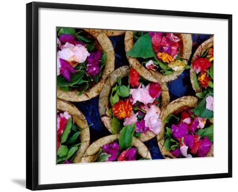 Flower Offerings for Sale on Sita Kund During Khumb Mela-Richard l'Anson-Framed Art Print