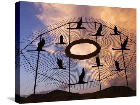Geese in Flight Sculpture on the Enchanted Highway-Richard Cummins-Stretched Canvas Print