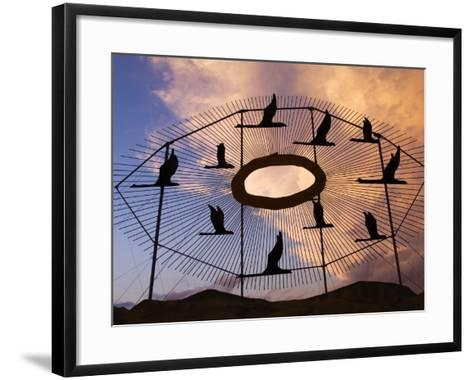 Geese in Flight Sculpture on the Enchanted Highway-Richard Cummins-Framed Art Print