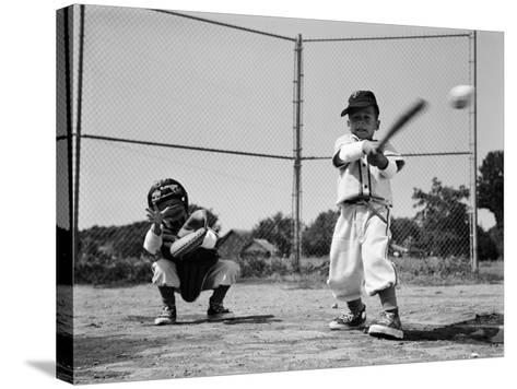 Boys Playing Baseball-H^ Armstrong Roberts-Stretched Canvas Print