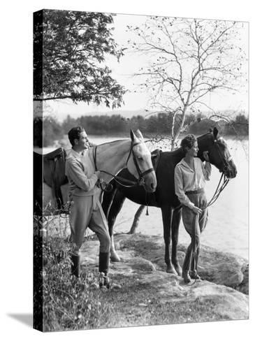 Couple Walking Horses Side By Side, Lake in Background-H^ Armstrong Roberts-Stretched Canvas Print