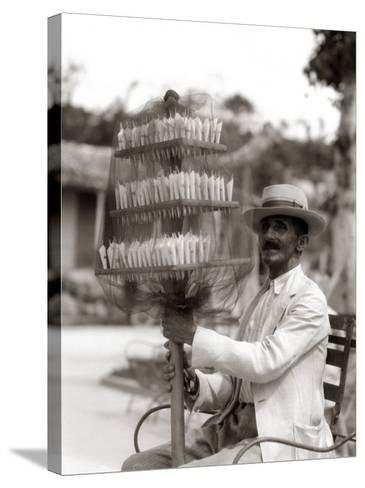 Havana Cuba Local Man Candyman Holding Three Tier-H^ Armstrong Roberts-Stretched Canvas Print