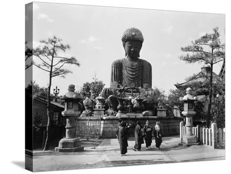 Group of Japanese Woman at Base of Daibutsu Buddha Statue, Near Kobe, Hyogo-H^ Armstrong Roberts-Stretched Canvas Print