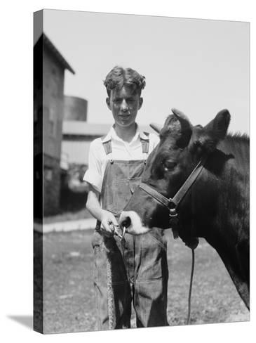 Teenage Farm Boy Wearing Bib Overalls, Holding Jersey Bull-H^ Armstrong Roberts-Stretched Canvas Print