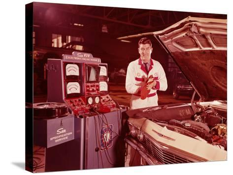 Mechanic in Service Station, Testing Car Engine-H^ Armstrong Roberts-Stretched Canvas Print