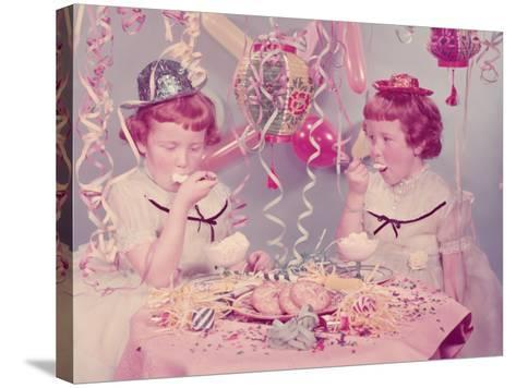 Twins Eating Ice Cream at Birthday Party-H^ Armstrong Roberts-Stretched Canvas Print