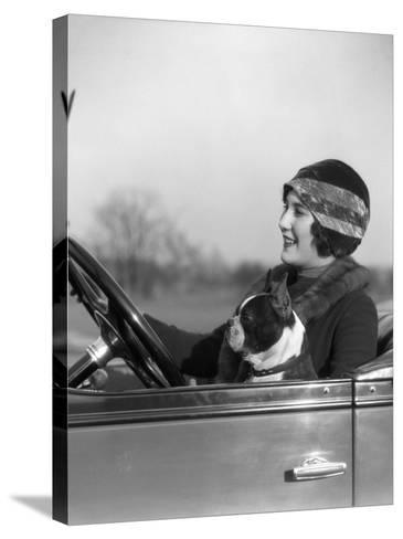 Woman at Steering Wheel Driving Car-H^ Armstrong Roberts-Stretched Canvas Print