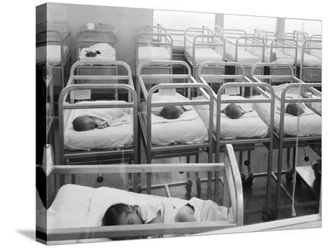 Newborn Baby Cribs in Hospital Nursery-H^ Armstrong Roberts-Stretched Canvas Print