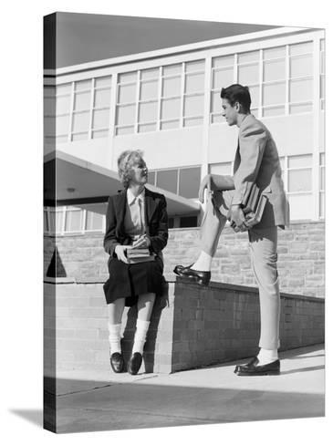 High School Boy and Girl Talking-H^ Armstrong Roberts-Stretched Canvas Print