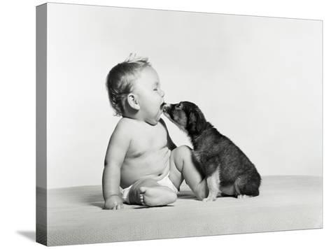 Baby and Dog-H^ Armstrong Roberts-Stretched Canvas Print
