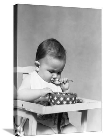Baby Eating-H^ Armstrong Roberts-Stretched Canvas Print
