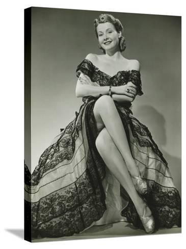 Glamorous Woman in Evening Gown Showing Legs, Portrait-George Marks-Stretched Canvas Print