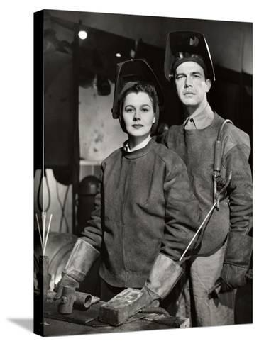 Couple in Ww Ii Defense Plant With Welding Gear-George Marks-Stretched Canvas Print