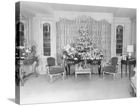 Heavily Decorated Christmas Tree Standing on Period Table-George Marks-Stretched Canvas Print