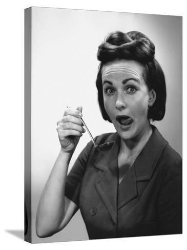Woman Holding Ladle, Licking Lips, Portrait-George Marks-Stretched Canvas Print