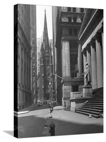View Up Wall St. of Trinity Church, New York-George Marks-Stretched Canvas Print