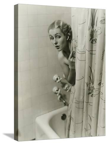Woman Peeking From Behind Shower Curtain-George Marks-Stretched Canvas Print
