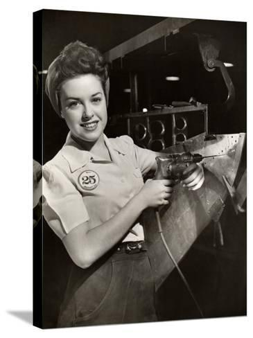 Woman Working on Aircraft Assembly Line-George Marks-Stretched Canvas Print