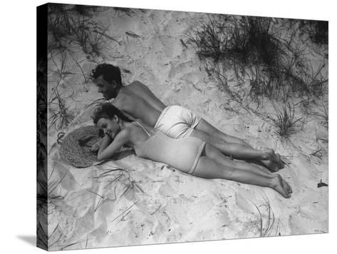 Couple Relaxing on Beach, Elevated View-George Marks-Stretched Canvas Print