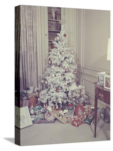 Christmas Tree and Gifts in Living Room-George Marks-Stretched Canvas Print