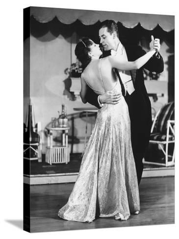 Couple in Evening Wear Dancing (B&W)-George Marks-Stretched Canvas Print