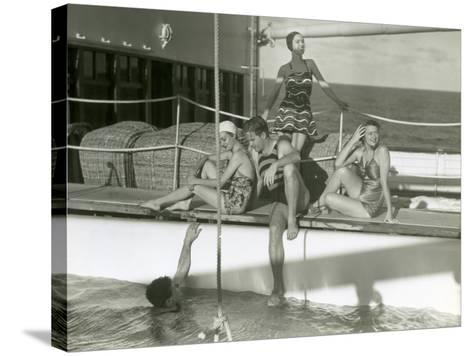 Men and Women By Pool on Cruise Ship-George Marks-Stretched Canvas Print